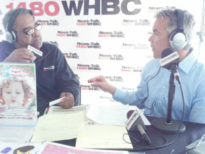 Brian Frank speaking on 1480 WHBC at Wishes Can Happen Wish-a-Thon