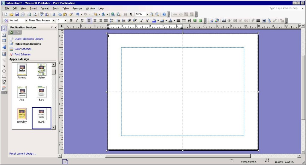 Inserting a 2 x 2 table in Microsoft Publisher