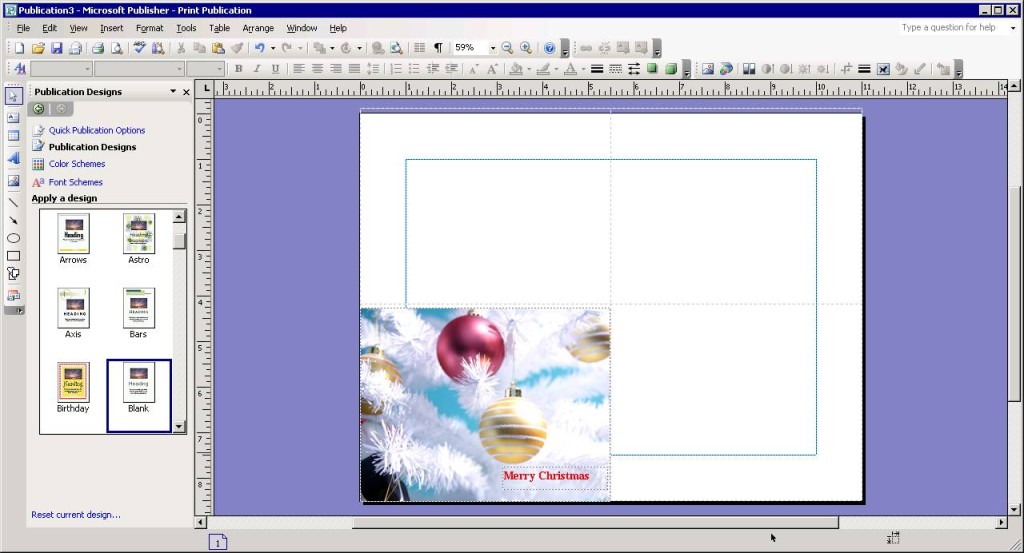 Insert greeting on the front of your holiday card in Publisher