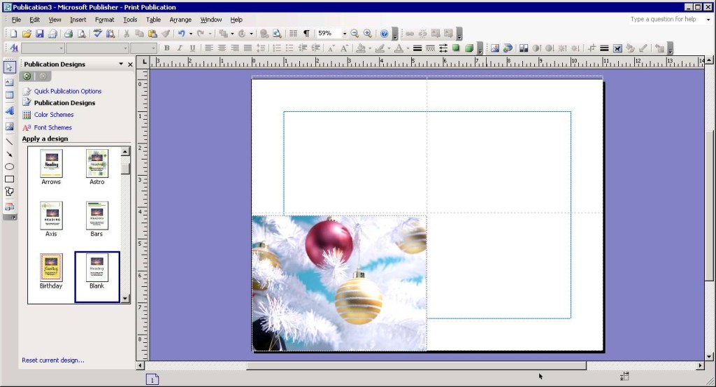 Insert a holiday picture in Microsoft Publisher